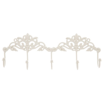 White Floral Metal Wall Decor With Hooks